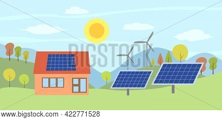 Solar Energy Concept. House With Solar Panel On Rooftop And Wind Turbines In A Countryside Scene.