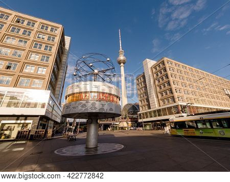 Berlin, Germany - June 15, 2020 - View Of The Famous World Clock On Alexanderplatz In Berlin With Th
