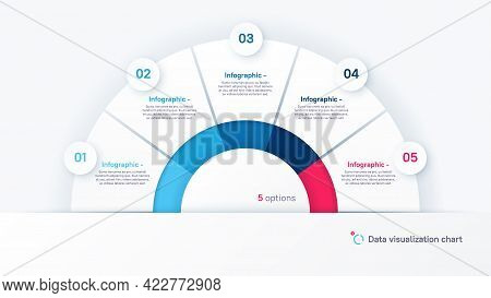 Vector Round Infographic Chart Template In The Form Of Semicircle Divided By Five Parts.