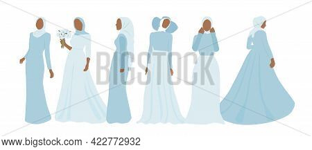 Abstract Faceless Portraits Of Women In Dress And Hijab. Set Of Beautiful Muslim Brides. Modern Vect