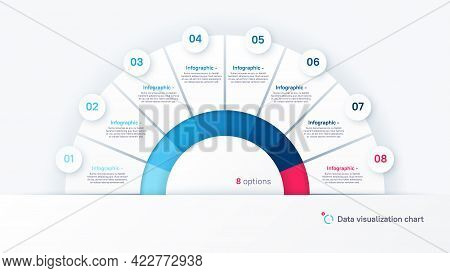Vector Round Infographic Chart Template In The Form Of Semicircle Divided By Eight Parts.
