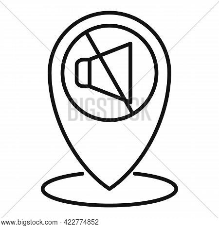 Quiet Space Location Icon. Outline Quiet Space Location Vector Icon For Web Design Isolated On White