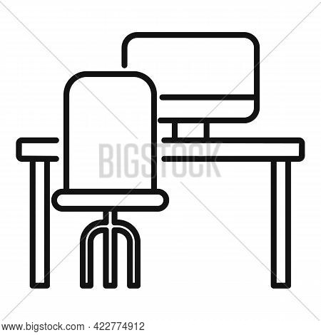 Computer Workspace Icon. Outline Computer Workspace Vector Icon For Web Design Isolated On White Bac