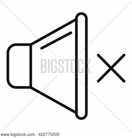 Mute Sound Icon. Outline Mute Sound Vector Icon For Web Design Isolated On White Background