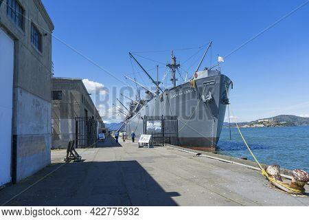 San Francisco, Ca, Usa - April 17, 2018: Ss Jeremiah O\'brien Ship At Fisherman\'s Wharf In San Fran