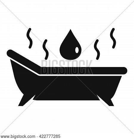 Essential Oils Hot Bathtub Icon. Simple Illustration Of Essential Oils Hot Bathtub Vector Icon For W