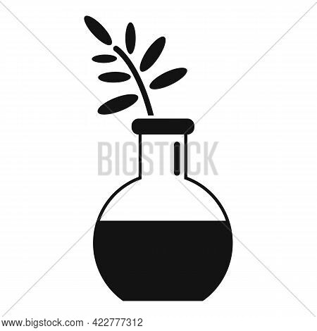 Essential Oils Plant Flask Icon. Simple Illustration Of Essential Oils Plant Flask Vector Icon For W