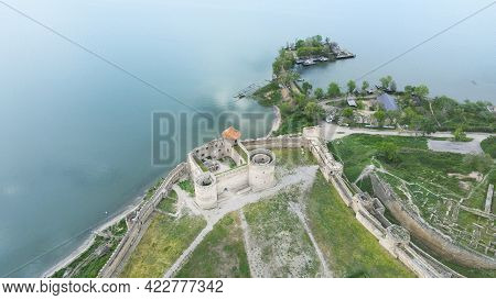 Aerial View Of Medieval Fortress Rocky Coast By Sea Akkerman Fortress, Ukraine, Europe