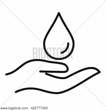 Essential Oils Hand Drop Icon. Outline Essential Oils Hand Drop Vector Icon For Web Design Isolated
