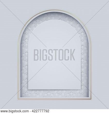 White And Gold Islamic Mosque Door With Arabic Pattern. Happy Holiday In Arabic Eid Mubarak Greeting