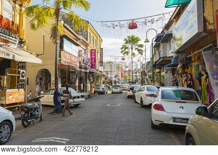 Penang, Malaysia - February 13,2019 : Street View Of Little India In Georgetown In Penang, Malaysia