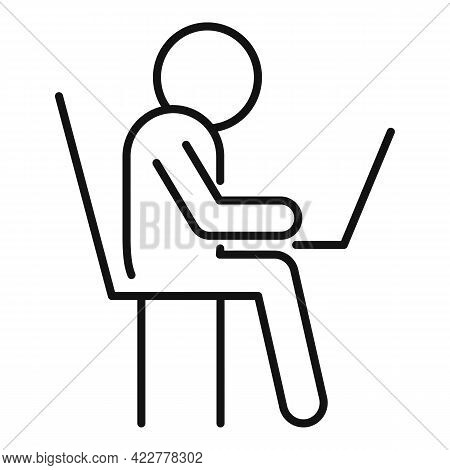 Home Office Working Icon. Outline Home Office Working Vector Icon For Web Design Isolated On White B