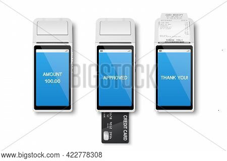 Vector 3d Realistic Payment Machine. Pos Terminal, Paper Receipt, Credit Card Isolated. Design Templ