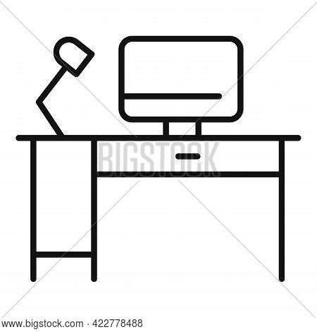 Home Office Workplace Icon. Outline Home Office Workplace Vector Icon For Web Design Isolated On Whi
