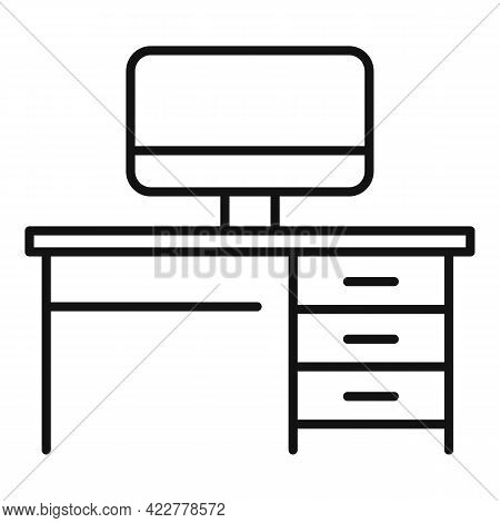 Home Office Distance Icon. Outline Home Office Distance Vector Icon For Web Design Isolated On White