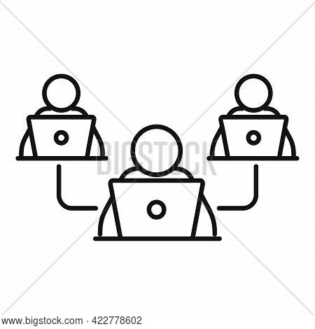 Home Office Teamwork Icon. Outline Home Office Teamwork Vector Icon For Web Design Isolated On White