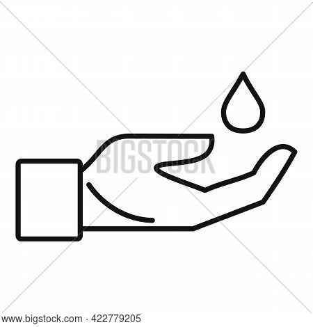 Disinfection Hand Icon. Outline Disinfection Hand Vector Icon For Web Design Isolated On White Backg