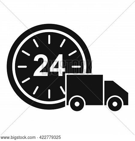 24 Hour Home Delivery Icon. Simple Illustration Of 24 Hour Home Delivery Vector Icon For Web Design