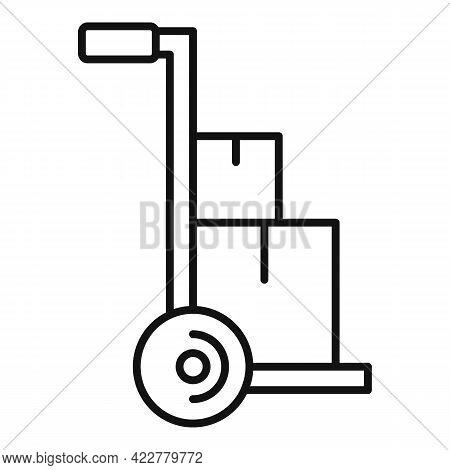 Parcel Cart Home Delivery Icon. Outline Parcel Cart Home Delivery Vector Icon For Web Design Isolate
