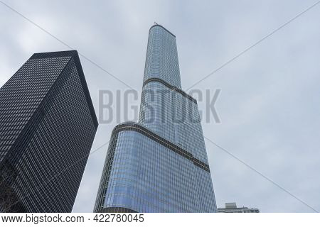 Chicago, Illinois (usa) - April 22,2018 : Facade Of The Trump Tower In Downtown Chicago,usa On April