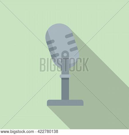 Studio Microphone Podcast Icon. Flat Illustration Of Studio Microphone Podcast Vector Icon For Web D