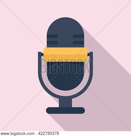 Podcast Home Microphone Icon. Flat Illustration Of Podcast Home Microphone Vector Icon For Web Desig