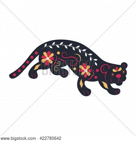 Flat Flower Panther, Black Big Cat. Cartoon Hand-drawn Vector. Wild Animal Decorated With A Pattern.