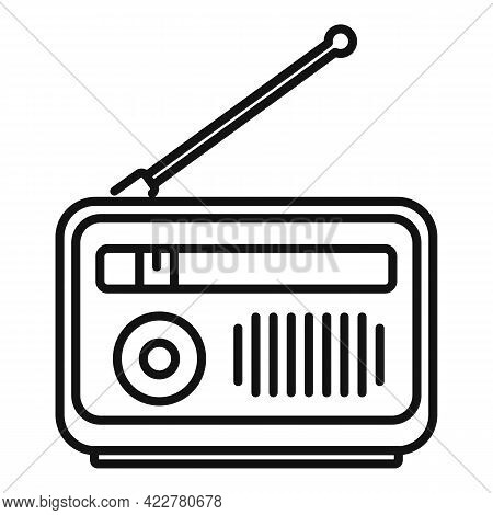 Radio Podcast Icon. Outline Radio Podcast Vector Icon For Web Design Isolated On White Background