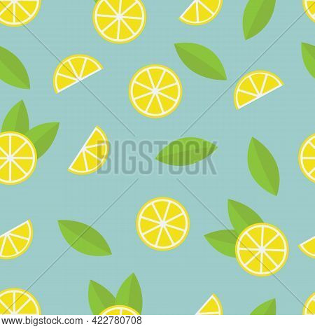 Lemon Pattern On Blue Background. Baby Background For Fabric Textile. Food Summer Backdrop In Flat D