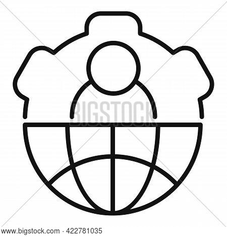 Outsource Global Gear Icon. Outline Outsource Global Gear Vector Icon For Web Design Isolated On Whi