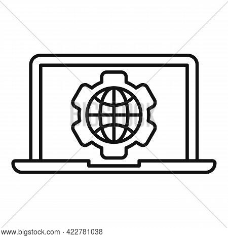 Outsource Laptop Icon. Outline Outsource Laptop Vector Icon For Web Design Isolated On White Backgro