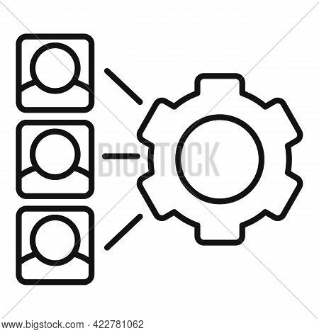 Outsource Gear System Icon. Outline Outsource Gear System Vector Icon For Web Design Isolated On Whi
