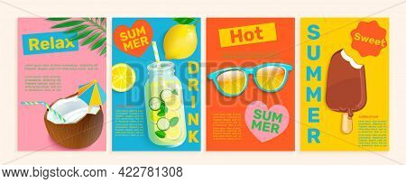 Set Of Summer Flyers, Cards With Tropical Themes.bright And Gentle Hot Season Banners And Posters.co