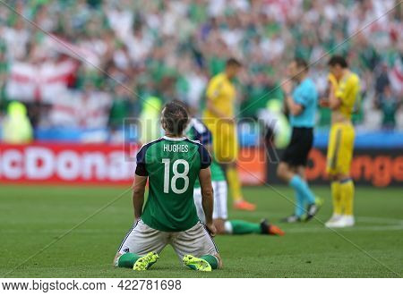 Lyon, France - June 16, 2016: Aaron Hughes Of Northern Ireland Reacts After Win Of The Uefa Euro 201