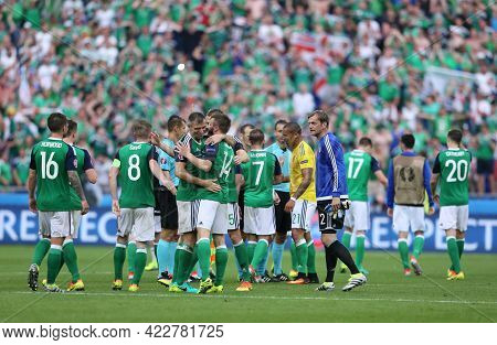 Lyon, France - June 16, 2016: Northern Irish Players Celebrate After Win Of The Uefa Euro 2016 Game