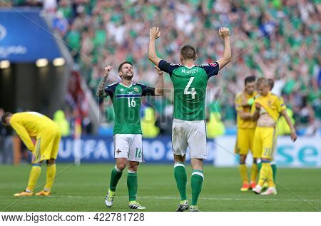 Lyon, France - June 16, 2016: Oliver Norwood And Gareth Mcauley Of Northern Ireland React After Win