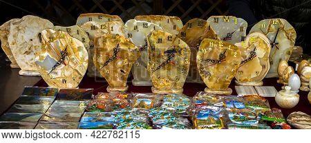Yerevan,armenia - April 20, 2019: Local Souvenir Shop Selling Various Clock In Yerevan,armenia.