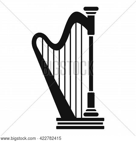 Harp Lesson Icon. Simple Illustration Of Harp Lesson Vector Icon For Web Design Isolated On White Ba