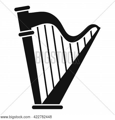 Harp Art Icon. Simple Illustration Of Harp Art Vector Icon For Web Design Isolated On White Backgrou