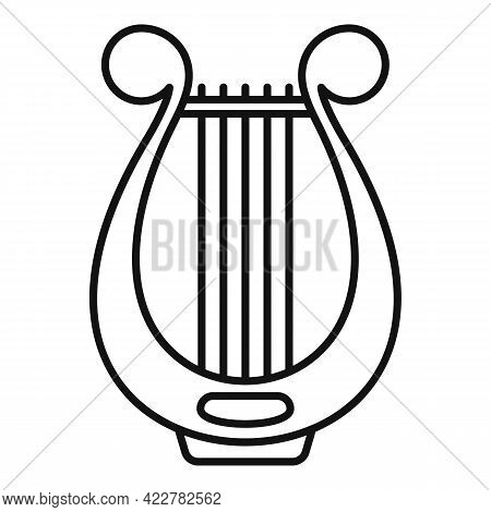 Harp Instrument Icon. Outline Harp Instrument Vector Icon For Web Design Isolated On White Backgroun