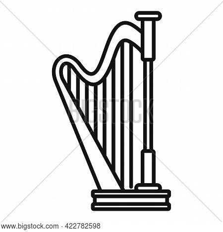 Harp Lesson Icon. Outline Harp Lesson Vector Icon For Web Design Isolated On White Background