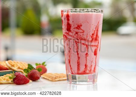 Strawberry Smoothie Or Milkshake, Healthy Food For Breakfast And Snack