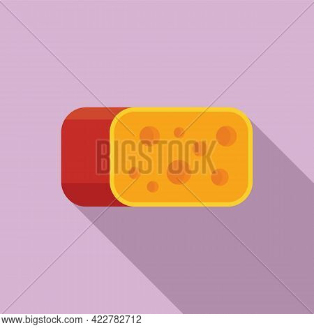 Cheese Slice Icon. Flat Illustration Of Cheese Slice Vector Icon For Web Design