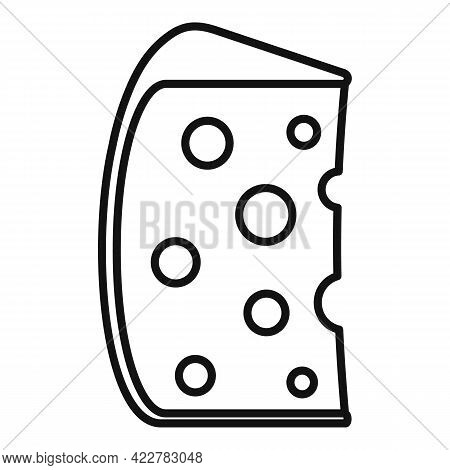 Cheese Slice Icon. Outline Cheese Slice Vector Icon For Web Design Isolated On White Background