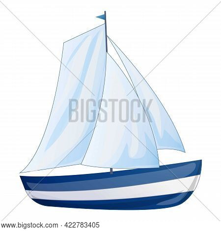 Sea Yacht Icon. Cartoon Of Sea Yacht Vector Icon For Web Design Isolated On White Background