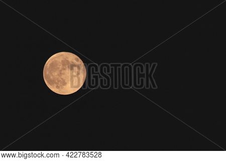 Beautiful Moon On Black Background With Place To Write Text In White Letters About Moon And Astronom