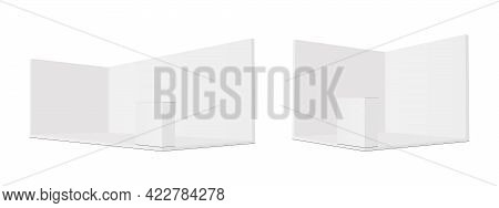 Blank Exhibition Trade Show Booth With Demonstration Table, Rectangular And Square Mockup, Side View
