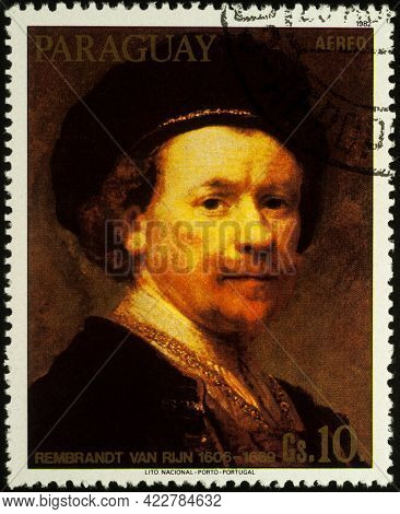 Moscow, Russia - June 05, 2021: Stamp Printed In Paraguay Shows Self Portrait By Dutch Painter Rembr