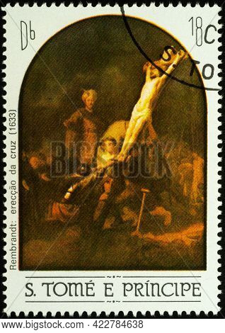 Moscow, Russia - June 05, 2021: Stamp Printed In Sao Tome And Principe Shows Painting Elevation Of T