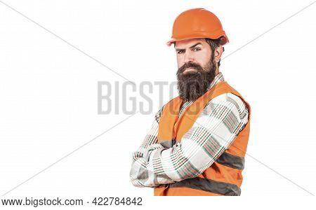 Builder In Hard Hat, Foreman Or Repairman In The Helmet. Man Builders, Industry. Worker In Construct